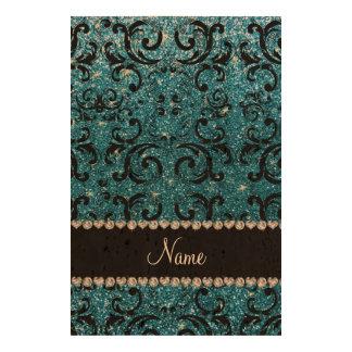 Custom name black sky blue glitter damask cork paper prints