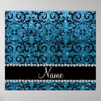 Custom name black sky blue glitter damask poster