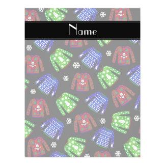Custom name black ugly christmas sweater pattern 21.5 cm x 28 cm flyer