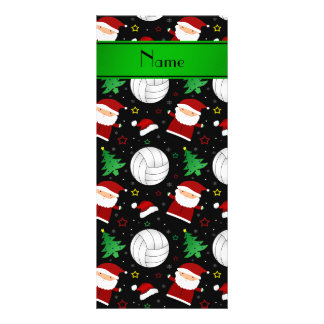 Custom name black volleyball christmas pattern personalized rack card