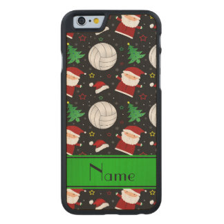 Custom name black volleyball christmas pattern carved® maple iPhone 6 slim case