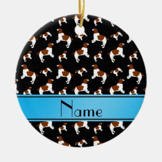Custom name black Welsh Springer Spaniel dogs Round Ceramic Decoration