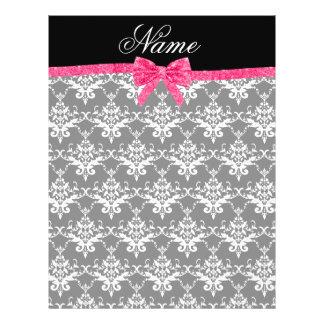 Custom name black white damask pink glitter bow full color flyer