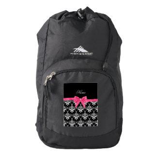 Custom name black white damask pink glitter bow backpack