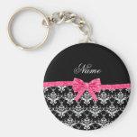 Custom name black white damask pink glitter bow basic round button key ring