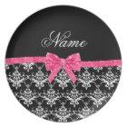 Custom name black white damask pink glitter bow plate