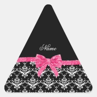 Custom name black white damask pink glitter bow triangle stickers