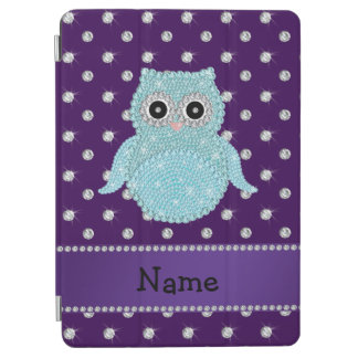 Custom name bling owl diamonds purple diamonds iPad air cover