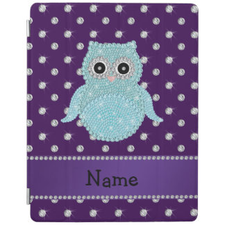 Custom name bling owl diamonds purple diamonds iPad cover
