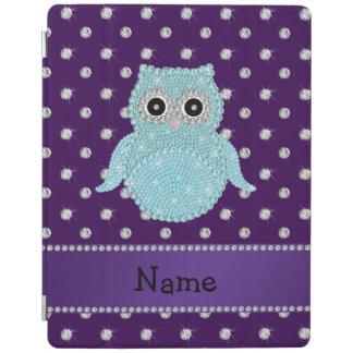 Custom name bling owl diamonds purple diamonds iPad smart cover