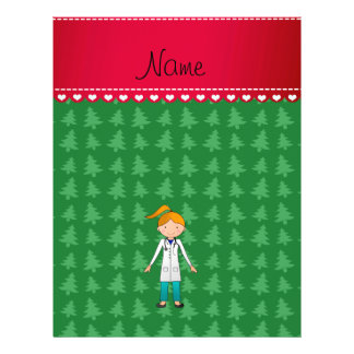Custom name blonde girl doctor green trees personalized flyer
