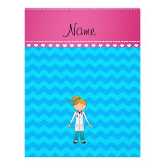 Custom name blonde girl doctor sky blue chevrons flyer design