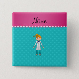 Custom name blonde girl doctor turquoise dots 15 cm square badge
