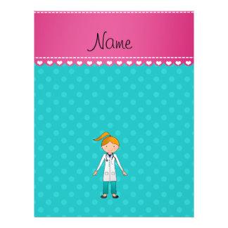 Custom name blonde girl doctor turquoise dots full color flyer