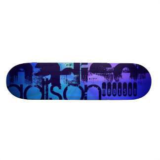 Custom Name; Blue & Abstract Purple, Green, Blue 19.7 Cm Skateboard Deck