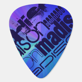 Custom Name; Blue & Abstract Purple, Green, Blue Pick