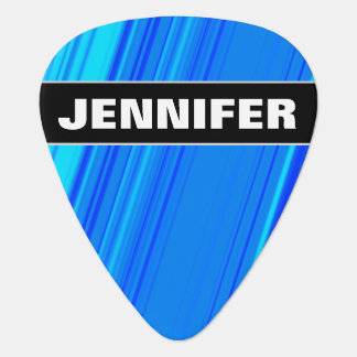 Custom Name + Blue and Cyan Lines Pattern Plectrum