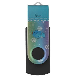 Custom name blue bird rainbow snowflakes stars USB flash drive