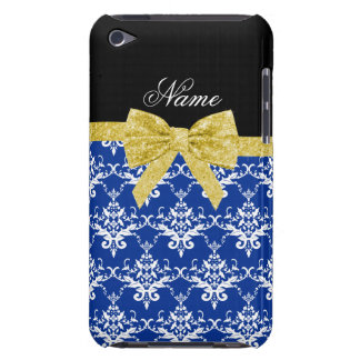 Custom name blue damask gold glitter bow barely there iPod case