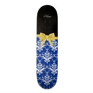 Custom name blue damask gold glitter bow skateboards
