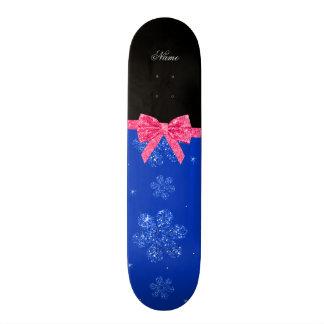 Custom name blue glitter flowers pink bow custom skate board
