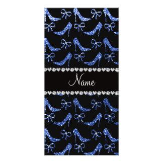 Custom name blue glitter high heels bow photo cards