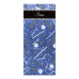 Custom name blue glitter lacrosse sticks rack cards