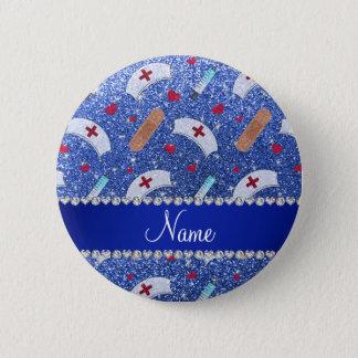 Custom name blue glitter nurse hats heart 6 cm round badge