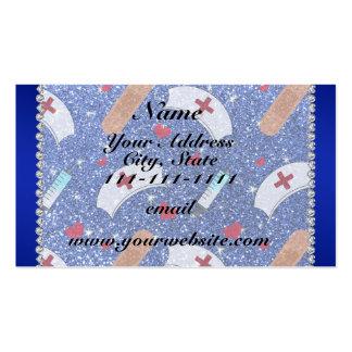 Custom name blue glitter nurse hats heart pack of standard business cards