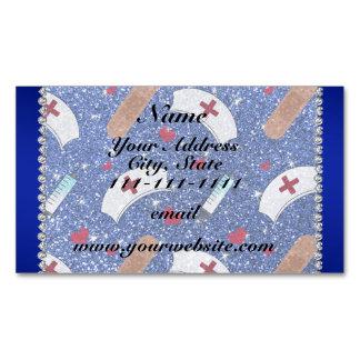 Custom name blue glitter nurse hats heart magnetic business cards