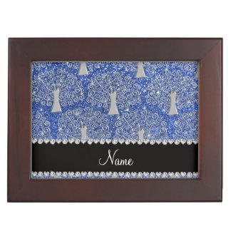 Custom name blue glitter silver tree of life keepsake box