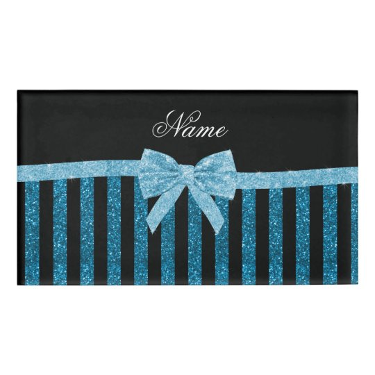 Custom name blue glitter stripes glitter bow name tag