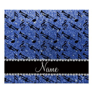 Custom name blue glitter trumpets music notes poster