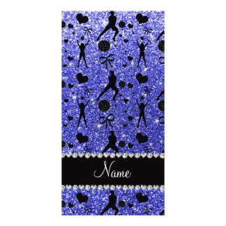 Custom name blue glitter volleyballs hearts bows photo card template
