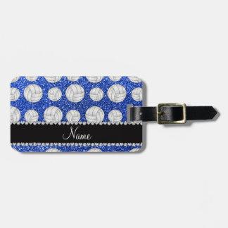 Custom name blue glitter volleyballs luggage tag