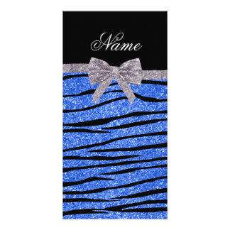 Custom name blue glitter zebra stripes bow personalized photo card