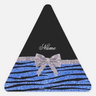 Custom name blue glitter zebra stripes silver bow triangle stickers