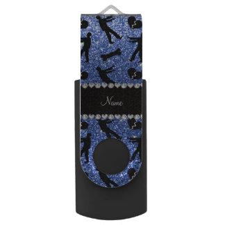 Custom name blue glitter zombies swivel USB 2.0 flash drive