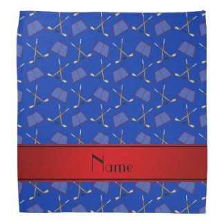 Custom name blue hockey sticks red stripe bandana