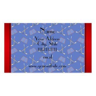 Custom name blue hockey sticks red stripe pack of standard business cards