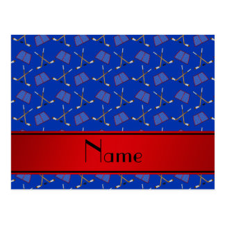 Custom name blue hockey sticks red stripe post cards