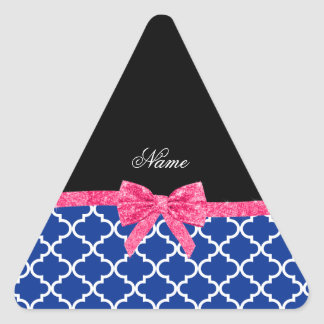 Custom name blue moroccan pink glitter bow triangle stickers
