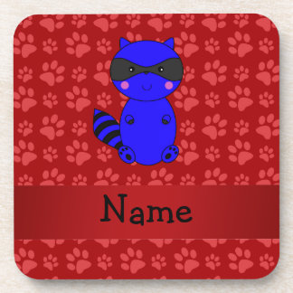 Custom name blue raccoon red paws coaster
