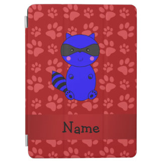 Custom name blue raccoon red paws iPad air cover