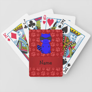 Custom name blue raccoon red paws deck of cards