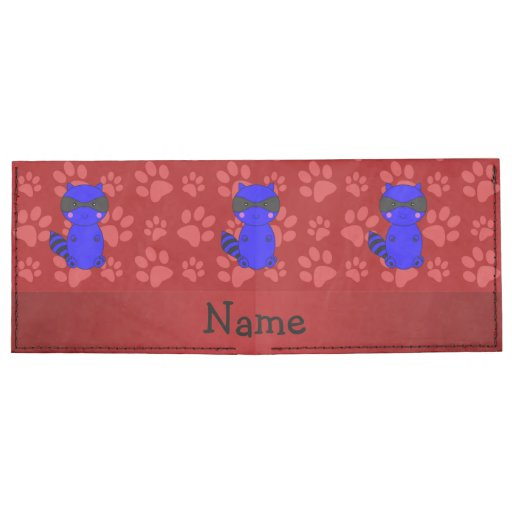 Custom name blue raccoon red paws billfold wallet