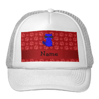 Custom name blue raccoon red paws trucker hats