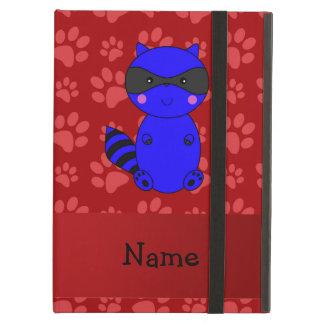 Custom name blue raccoon red paws iPad air covers