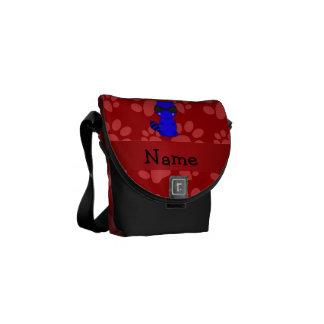 Custom name blue raccoon red paws messenger bags
