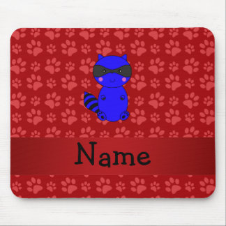 Custom name blue raccoon red paws mouse pads